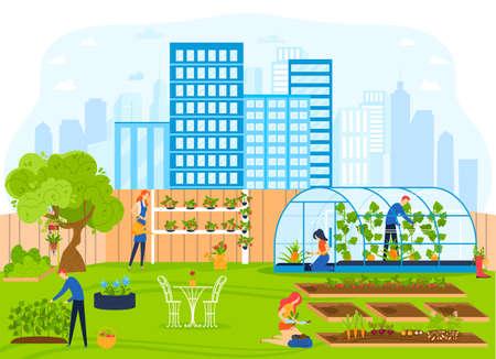 People work in city garden vector illustration, cartoon flat urban cityscape with gardener worker characters gardening, working