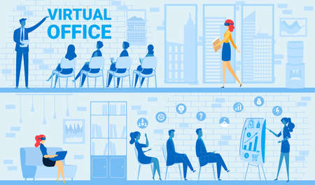 People in virtual business office meeting vector illustration, cartoon flat businesswoman in tech vr glasses sitting with laptop 向量圖像