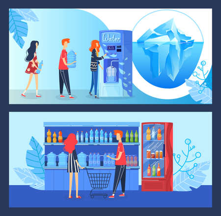 Buy drink water vector illustration, cartoon flat buyer people buying fresh clean drinking water in automatic vending machine shop