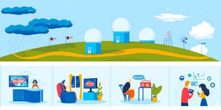 News weather meteorology service vector illustration, cartoon flat people watching meteorologist tv radio program forecast