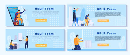 People work in repair service vector illustration set, cartoon flat repairman character team with toolbox fixing house building