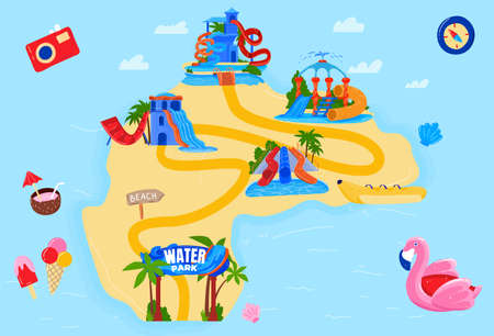 Water theme park vector illustration, cartoon flat amusement waterpark island map with water slides, hills tubes and aqua pools