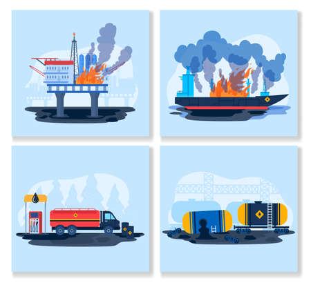 Oil gas industry eco accident vector illustration, cartoon flat ecological disaster collection with flaming platform, spilled oil