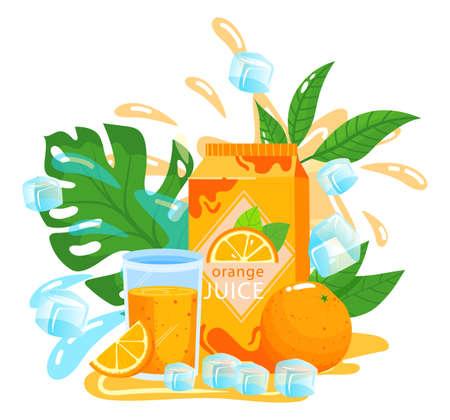 Orange juice fruit packaging vector illustration, cartoon flat fresh cold orange juicy drink in glass, package of sweet beverage