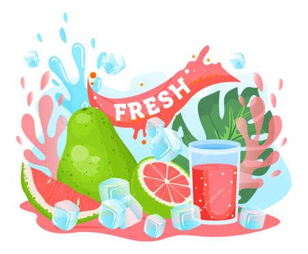Pomelo citrus juice vector illustration, cartoon flat fresh pink pomelo citrus juicy summer vitamin drink in glass and ice cubes 版權商用圖片 - 158423604