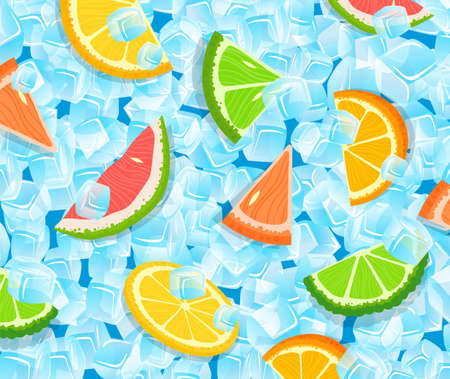 Citrus sliced fruit pattern decor vector illustration, cartoon flat slices of orange lemon grapefruit pomelo lime and ice cubes 版權商用圖片