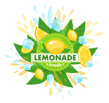 Citrus fruit fresh lemonade product vector illustration, cartoon flat citrous design template leaflet with sliced lemon ripe fruit