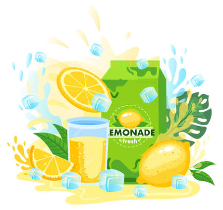 Lemon juice, lemonade package vector illustration, cartoon flat fresh lemony juicy drink in glass, juice splashes and packaging 版權商用圖片 - 158423609