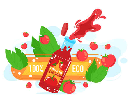 Tomato ketchup food product vector illustration, cartoon flat open glass bottle with tomato ketchup sauce splash, ripe red tomato 版權商用圖片 - 158404245