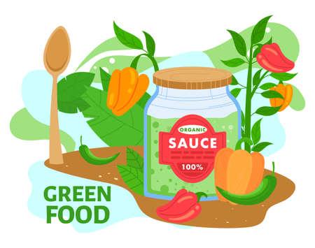 Organic green sauce in jar vector illustration, cartoon flat vegetarian cuisine food product, preserved sauce from ripe vegetables