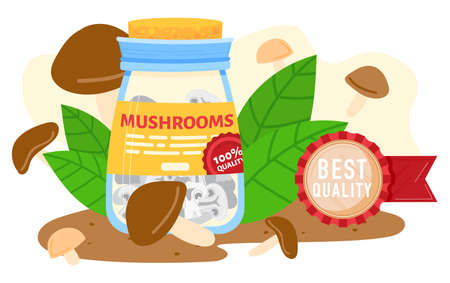 Mushroom farm canned food vector illustration, cartoon flat farmed best quality edible marinated champignon mushrooms in jar