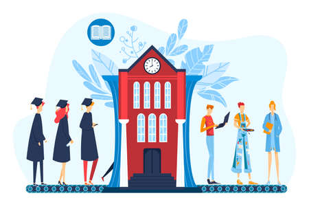 Graduation, professional career concept flat vector illustration, cartoon students graduates standing on university conveyor belt