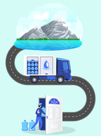 Water delivery service vector illustration, cartoon process of delivering of drinking water by courier transport truck to door 向量圖像