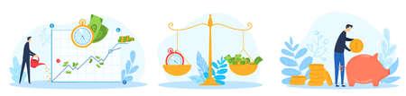 Financial business account vector illustration set, cartoon flat businessman watering money, save gold coins in piggy bank 版權商用圖片 - 158408970