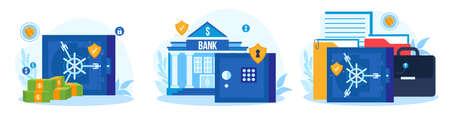 Bank safe vector illustration set, cartoon flat storage safe box for cash safety and protection, dollar banknote and money deposit