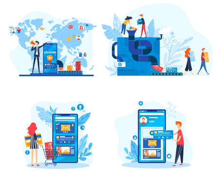 App creation vector illustration set, cartoon flat developer people team creating mobile web applications with creativity machine 版權商用圖片 - 158408925