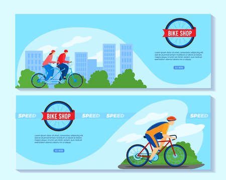 Bicycle bike shop vector illustration set, cartoon flat banner collection with cyclist people in helmets and sportswear cycling 版權商用圖片 - 158423615
