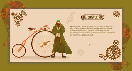 Vintage bicycle steampunk vector illustration, cartoon flat steampunk hipster cyclist character in glasses and old coat standing next to retro cycle, victorian culture and fashion design banner