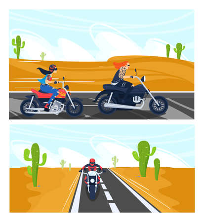 Bikers ride motorcycle vector illustration set, cartoon motorcyclist people riding motorbikes on asphalt road in desert landscape 版權商用圖片 - 158408959