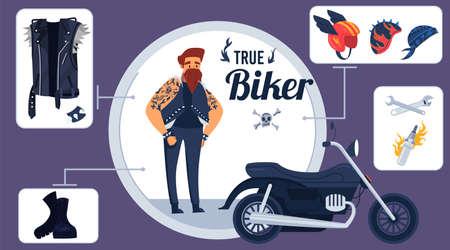 True biker kit vector illustration, cartoon flat infographic poster with rocker jacket, helmets and boots, repair equipment items