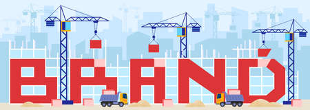 Build brand, business concept vector illustration, cartoon flat brand building construction with cranes, machinery and trucks