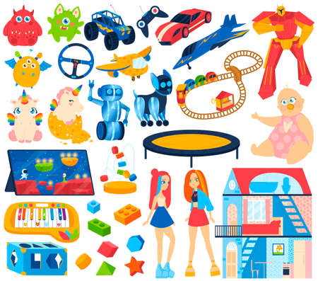 Baby, kids toys for game icon set of isolated vector illustrations. Train, horse, whirligig, toy house, dall and duck, baby block, plane. 向量圖像