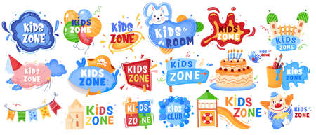 Kid zone playground or children education calssroom for games set of vector illustration banners. Baby area, play room signs, labels. 向量圖像