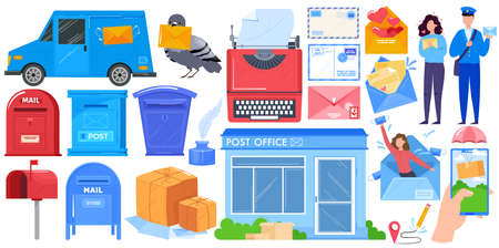 Mail delivery, post shipping service islated icons set with mailbox, post office parcels, mailman and postoffice box vector illustration. 向量圖像