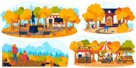People in autumn park outdoor, hiking in fall nature, autumn market set of vector illustration. Entertainment outside home, nice weather. 向量圖像