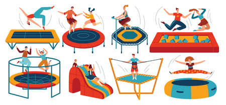People jumping trampolines set of isolated vector illustration. Trampolining people and rebounders. Entertainment park. 向量圖像