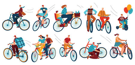 Bicycle riders on bikes, sport, isolated vector illustrations. Cyclist man, woman, children, hipster, older, racing cyclist on bike.