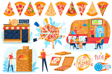 Pizza food business set of isolated vector illustrations. Order pizza online with delivery. Delivery man with pizza on trunk.