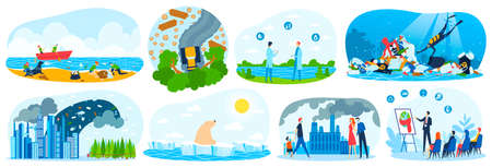 Environment pollution, ecology, environmental disaster set of vector illustrations. Green energy and nature pollution. Nuclear power plant. 向量圖像