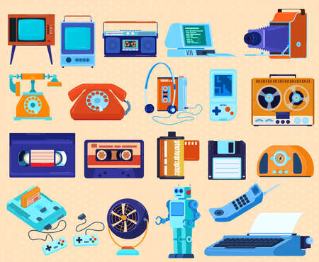 Retro technique appliances set of vector illustrations. Icons of old computer, radio, telephone, tape recorder or voice recorder, TV.