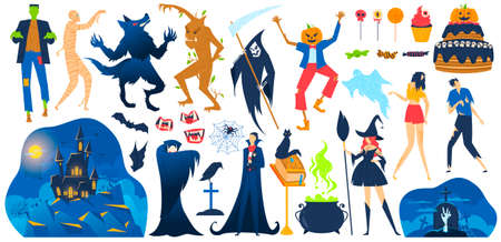 Halloween, saints day holiday scary objects set of vector illustration. Creepy monster, black cat, pumpkin, candle or rip, skull, bat. 向量圖像