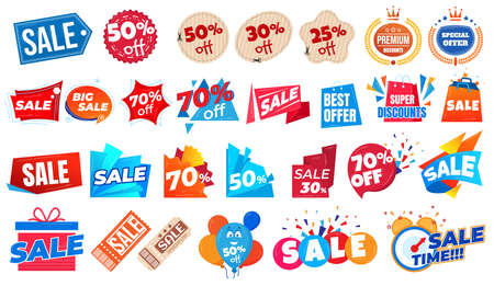 Super sale offer and discount prices and coupons banners set of vector illustration. Shopping promotion stickers for business.