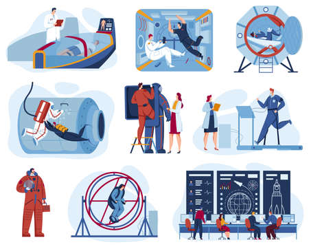 Space exploration center for astronaut training set of vector illustrations. Cosmonauts in space station and outer space.