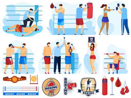 Boxer training sport, boxing set of vector illustrations. Box athlete, sparring referee announces victory, boxer punching bag, knockdown.