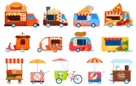 Street food vehicles, truck, pushcart and counters with tent set of vector illustrations. Fast food cars with snack, hot meal.