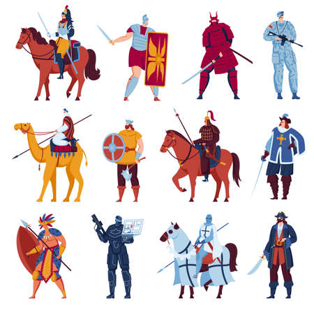 Ancient warriors, knights with weapon, medieval characters set of vector illustrations. Gladiator roman warrior in armor with sword.