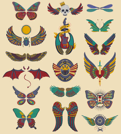 Wings set of angel, devil, dragon, bat and butterfly, bird, dragonfly, isolated vector illustration icons. Retro decoration.