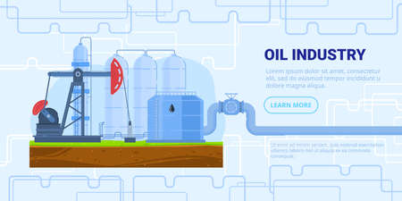 Oil industry vector vector illustration, cartoon flat refinery factory with drilling rig tower, tank storage, industrial pipeline