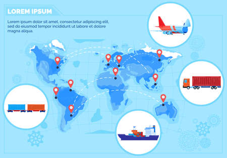 Global logistics delivery network vector illustration, cartoon infographic worldwide shipping management map, different transport 向量圖像