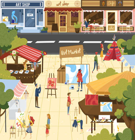 People on art market vector illustration, cartoon flat buyer customer characters buying books or art objects at city street fair