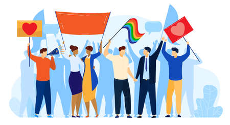 People protest, LGBT pride activism concept vector illustration, cartoon activist protester people protesting with rainbow flag