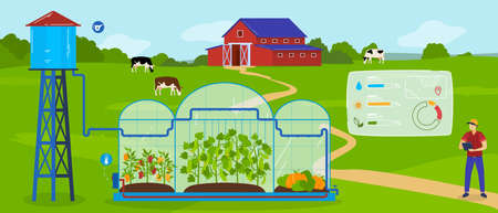 Greenhouse modern agriculture technology vector illustration, cartoon agricultural landscape, smart automated glasshouse system
