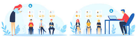 Social rating recruiting vector illustration set, cartoon flat manager leader characters rate employees job as like or dislike