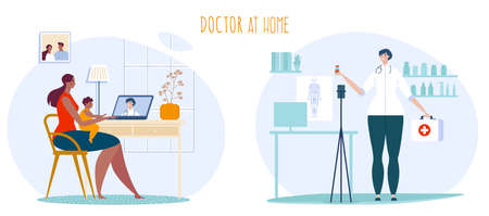 Telemedicine doctor consultation vector illustration. Cartoon flat mother with child patient consulting with doctor online, using computer medical app. Healthcare medicine service isolated on white 向量圖像