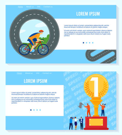 Win in sport competition vector illustration set, cartoon sportsman cyclist in sportswear ride bicycle, people celebrate victory