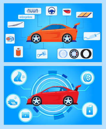 Car auto hardware diagnostics, condition of vehicle, scanning, test and monitoring, analysis, vector illustration. Car insurance service.